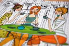Girls in cafe colorful illustration Royalty Free Stock Image