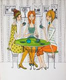Girls in cafe colorful illustration Royalty Free Stock Photography