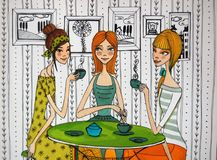 Girls in cafe colorful illustration Stock Image