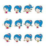Girls Collection Set, Vector and illustrations Royalty Free Stock Image