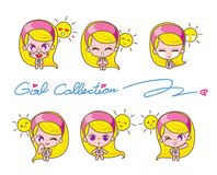 Girls Collection Set, Vector and illustrations Stock Image