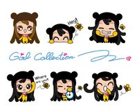 Girls Collection Set, Vector and illustrations Royalty Free Stock Images