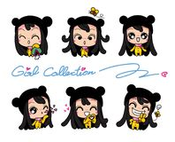 Girls Collection Set, Vector and illustrations Stock Photo