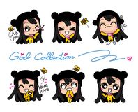 Girls Collection Set, Vector and illustrations Royalty Free Stock Photos