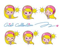 Girls Collection Set, Vector and illustrations Stock Photography
