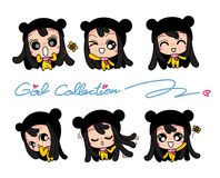 Girls Collection Set, Vector and illustrations Royalty Free Stock Photography