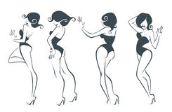 Girls collection. Collection of stylized cartoon pin up girls in different Royalty Free Stock Photos