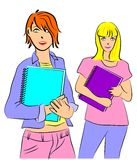 Girls college students Stock Image