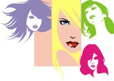 Girls with color hairs Stock Photo
