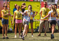Girls at Color Run in Zwolle Royalty Free Stock Photo