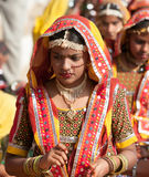 Girls in colorful ethnic attire attends at the Pushkar fair Royalty Free Stock Images