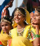 Girls in colorful ethnic attire attends at the Pushkar fair Stock Photos