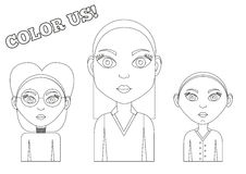 3 girls - coloring book. Set of 3 isolated female outlines to be colored Royalty Free Stock Photos