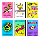 For Girls Comic Style Posters Set Royalty Free Stock Images