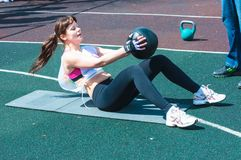 Girls compete in fitness Crossfit Stock Images