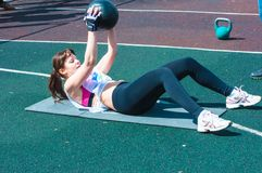 Girls compete in fitness Crossfit Royalty Free Stock Image