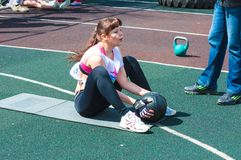 Girls compete in fitness Crossfit Stock Photos