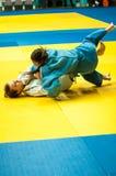 Girls compete in Judo. Orenburg, Southern Ural, Russia - 29.10.2014: The Girls compete in the All-Russian Judo tournament in memory of Viktor Chernomyrdin royalty free stock photo