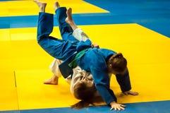 Girls compete in Judo. Orenburg, Southern Ural, Russia - 29.10.2014: The Girls compete in the All-Russian Judo tournament in memory of Viktor Chernomyrdin stock photo