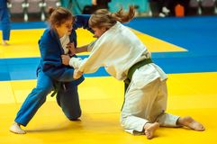 Girls compete in Judo. Orenburg, Southern Ural, Russia - 29.10.2014: The Girls compete in the All-Russian Judo tournament in memory of Viktor Chernomyrdin Royalty Free Stock Photography