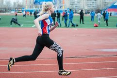 Girls compete in the run, Orenburg, Russia Royalty Free Stock Image