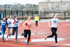 Girls compete in the run, Orenburg, Russia Royalty Free Stock Photography