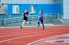 Girls compete in the run, Orenburg, Russia Royalty Free Stock Photo