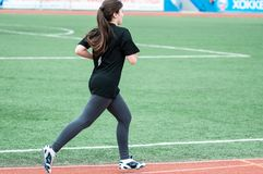 Girls compete in the run, Orenburg, Russia Royalty Free Stock Photos