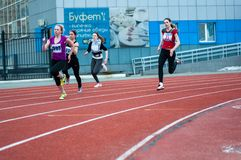 Girls compete in the run, Orenburg, Russia Stock Photo