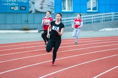 Girls compete in the run, Orenburg, Russia Stock Image