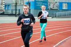 Girls compete in the run, Orenburg, Russia Stock Images