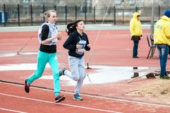 Girls compete in the run, Orenburg, Russia Royalty Free Stock Images
