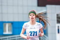 Girls compete in the run, Orenburg, Russia Stock Photos