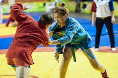 Girls compete in Sambo Stock Photography