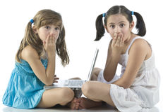 Girls with computer Royalty Free Stock Photo