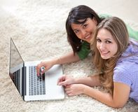 Girls on the computer Royalty Free Stock Photo