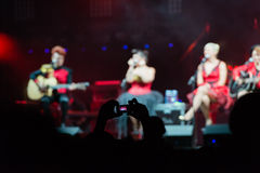 Girls on concert stage Royalty Free Stock Image