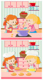Girls cooking and baking in kitchen Stock Images