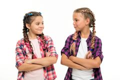 Girls cool confident sisters with folded arms. Friendship support and trust. Sisterhood goals. Sisters together isolated. White background. Sisterly royalty free stock photos