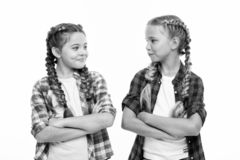Girls cool confident sisters with folded arms. Friendship support and trust. Sisterhood goals. Sisters together isolated royalty free stock photo