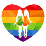 Girls couple and heart Stock Photography