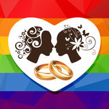 Girls couple and rings Royalty Free Stock Photography