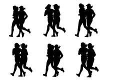 Girls couple running Royalty Free Stock Image