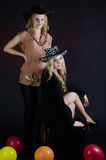 Girls in a cowboy hats Royalty Free Stock Photography