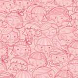 Girls in the crowd seamless pattern background Stock Image