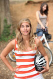 Girls cycling Royalty Free Stock Photography
