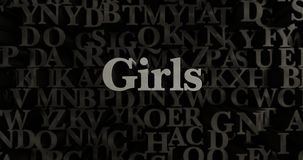 Girls - 3D rendered metallic typeset headline illustration. Can be used for an online banner ad or a print postcard Stock Photos