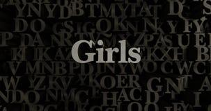 Girls - 3D rendered metallic typeset headline illustration Stock Photos