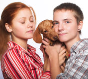 Girls with a dachshund Stock Image