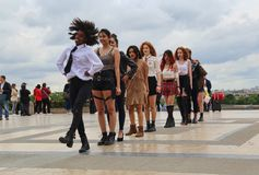 Girls dance in Paris, France